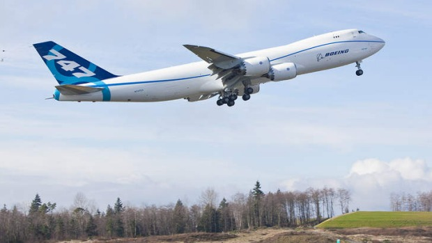 A Boeing 747-8 makes its first test flight in Everett, Washington. The 747-8 is the largest jumbo jet Boeing has built.
