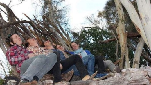 Creators at their now dismantled Mt Majura Tree House in June 2011.