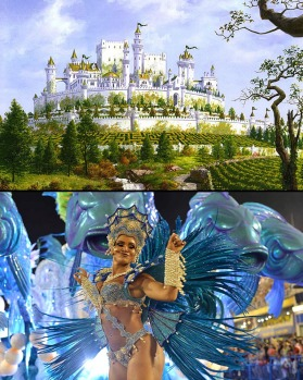 Party people: You want to go to Highgarden (top, an artist?s rendition), book a ticket to Rio (bottom, a samba dancer).
