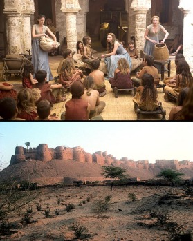 Capital place: You want to go to Kings Landing (top), book a ticket to Jaisalmer (below, the 12th century fort palace).