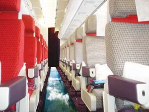 The cabin with a view: Inside Virgin Atlantic's glass-bottomed plane.