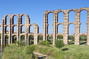 Roman ruins of the Miracles aqueduct, Spain.