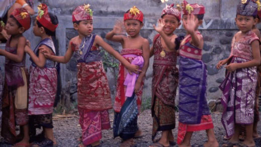 Local children taking part in a Temple Festival, Bali.