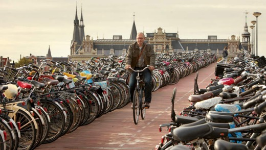 Join the queue: one of the many bike parking stations in Amsterdam.
