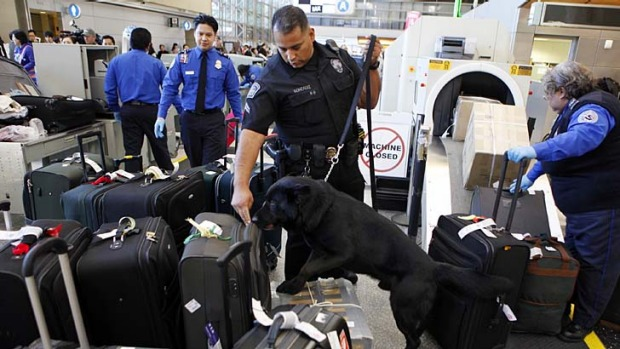 Sniffer dogs check baggage at Los Angeles International Airport (LAX).