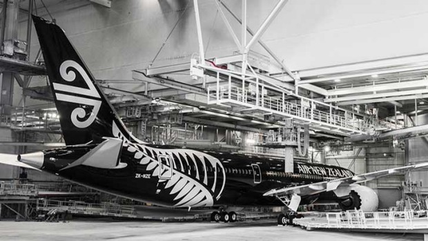 Air New Zealand's new black Boeing 787-9 at the factory in Seattle.