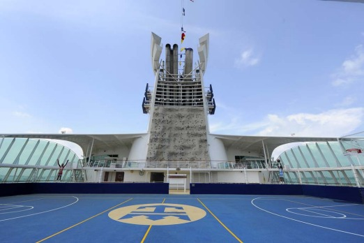 Royal Caribbean's Explorer of the Seas rockwall and basketball court.