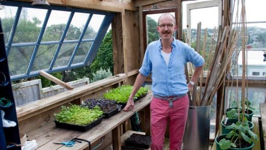 Jonathan Scott in garden shed.