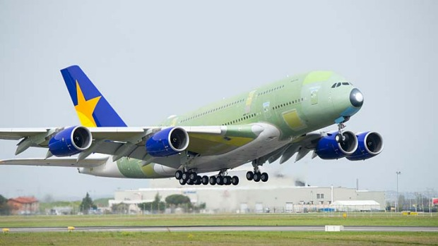 Skymark's first Airbus A380 superjumbo takes off on its maiden testing flight. Skymark Airlines will become the first ...