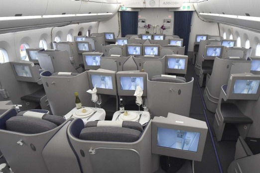 The new business cabin oon the Airbus A350 XWB.