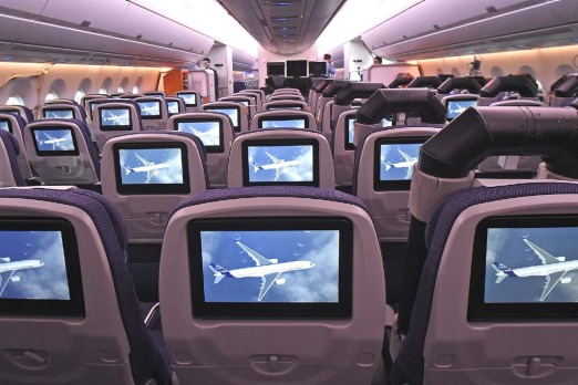 TV screens, installed on board of an Airbus A350 XWB.