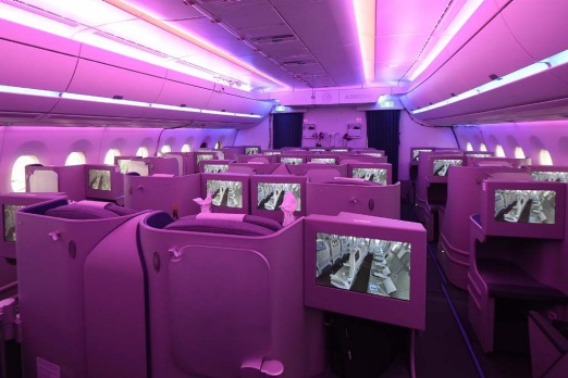 The new cabin of an Airbus A350 XWB.