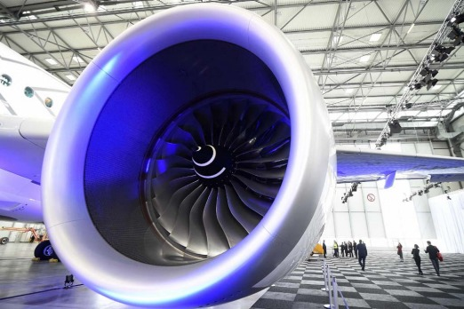 A jet engine of an Airbus A350 XWB.