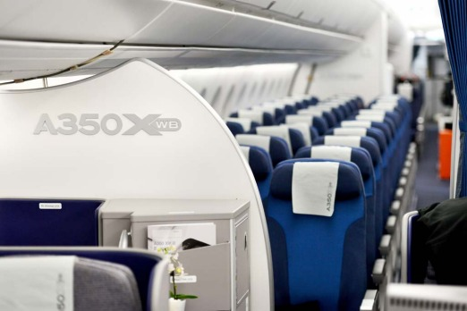The interior of the economy class of the new Airbus A350 XWB.