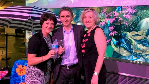 Queensland Tourism Minister Jann Stuckey, Queensland Tourism Industry Council chief executive Daniel Gschwind and ...