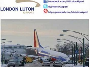 A screenshot taken of Luton's Twitter account with the offending image of a plane crash.