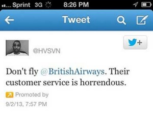 Hasan Syed's promoted tweet about British Airways.