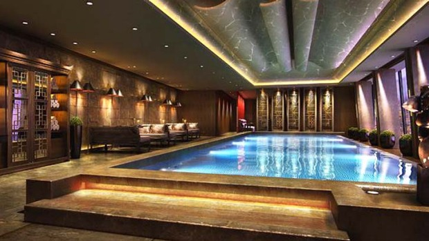 The hotel's indoor swimming pool located on level 52 offers panoramic views of London's skyline.