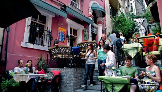 Cafe terraces in Istanbul.