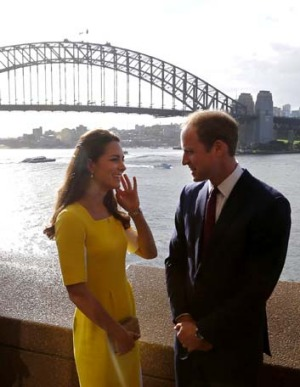 Prince William and the Duchess of Cambridge in front of the Sydney Harbour Bridge.