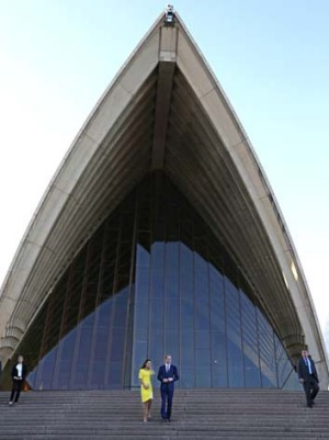 Creating interest Down Under: Prince William and the Duchess of Cambridge at the Sydney Opera House.