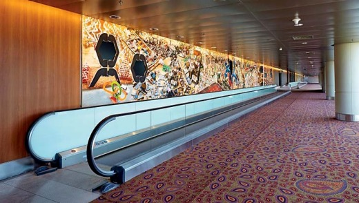 The art show stretches some 3km along the walls of the new T2.