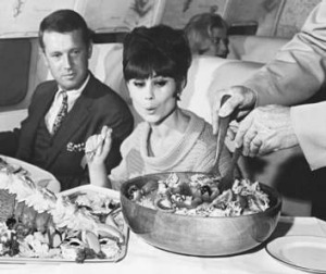 Seven course meals were offered in first class.