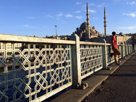On the Galata bridge.
