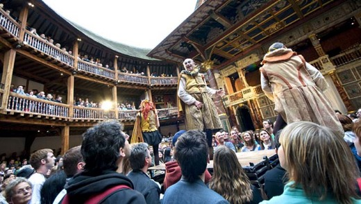 Audiences enjoy Footsbarns Shakespeare Party at the Globe Theatre, London.