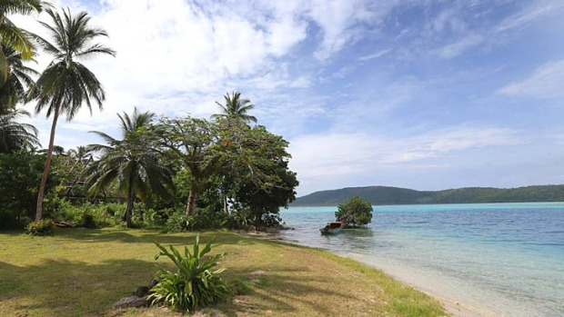 The private beach on the island of Tuvanipupu where the Duchess and Duke stayed.