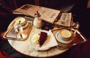 A table at Sacher Cafe.