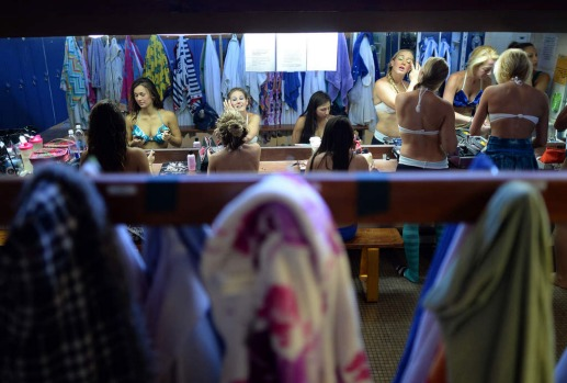 "'Mermaids' get ready in the dressing room before their underwater show ""Little Mermaid"" at Weeki Watchee Springs State ..."