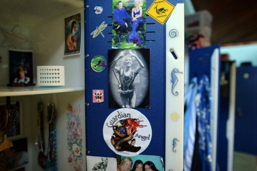"A locker of a 'mermaid' is pictured in the dressing room before their underwater show ""Little Mermaid"" at Weeki Watchee ..."
