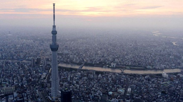 Take in the view from Tokyo Skytree: As the sun sets, there?s no better place to take in the enormity of Tokyo by night than from the viewing deck of the Skytree, 450 metres above the city. The tower is in Asakusa.