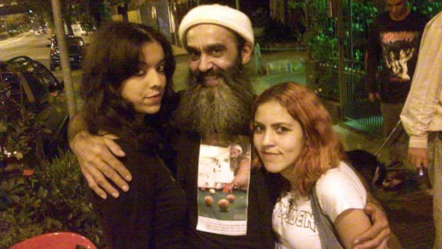 'Osama Bin Laden' with some fans.