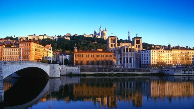 Chic and cheerful: Cathedral Saint Jean-Baptiste on the Soane River in Lyon, France.
