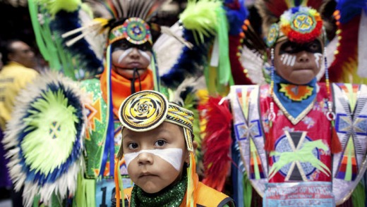 Dancers at the annual Gathering of Nations in New Mexico.