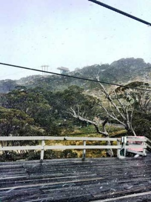 Winter is almost here: Snow falling at the Thredbo on April 30.