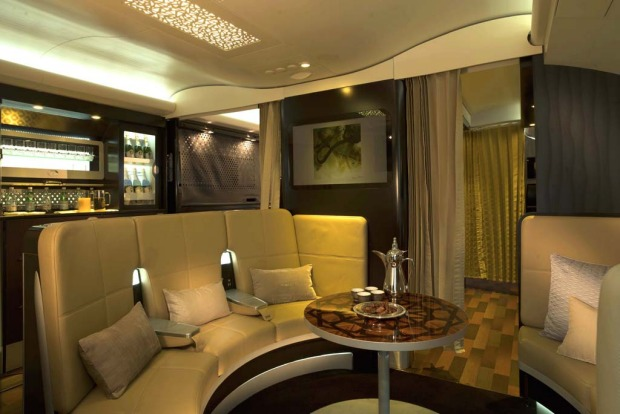 Etihad's lounge on the A380.