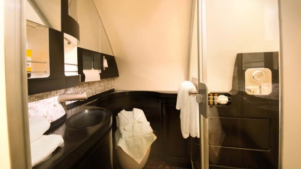 The private bathroom in the Residence class suite.