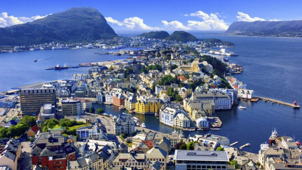 Overview of Alesund, the art nouveau-style Norwegian town.