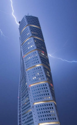 Lightning strikes the 190-metre Turning Torso building in Malmo.