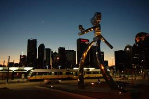 The 'Travelling Man' sculpture in Deep Ellum.