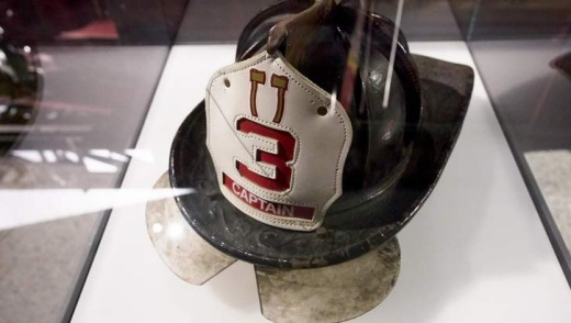 A fire fighter helmet on display at the National September 11 Memorial Museum.