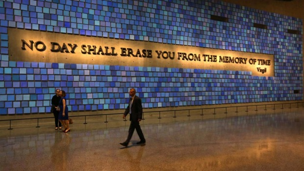 A quote from Virgil fills a wall of the National September 11 Memorial Museum.