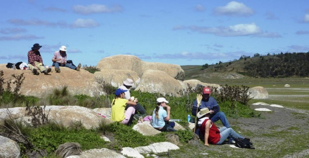 Enjoying lunch on one of Lake Bathurst?s rocky outcrop.