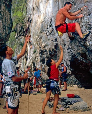 On the up: climbers at Railay Beach in Krabi.