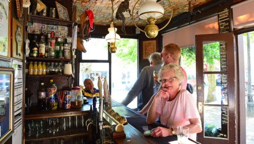 Inside the Nutshell, Britain's smallest pub.
