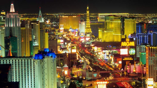 Bright lights, big city: 'The Strip' in Las Vegas.
