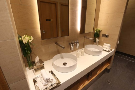 A bathroom in Etihad's new First and Business Class Lounge at Sydney?s Kingsford Smith International Airport.